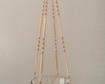 """Hand Crafted Macrame Plant Hanger- Cream 42""""-45"""" (Available in all colors)"""