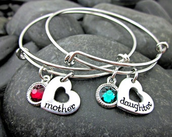 Mother Daughter Bracelets - Matching Bracelet Set - Birthstone Bracelets - Mother Daughter Jewelry - Mother's Day - Gift for Mom