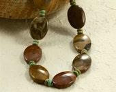 Petrified Wood Jasper and Turquoise Necklace, Chunky Necklace, Brown Necklace, Jasper Necklace