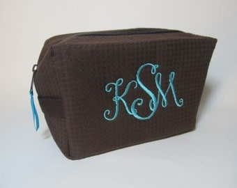 Personalized Bridal Party Cosmetic Bag - Bridesmaid Makeup Bag - Waffle Weave Spa Bag - Great Gift