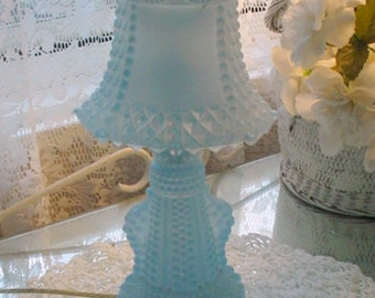 Vintage SatinGlass Lamps Blue Hobnal Pattern Bedside Romantic French Shabby Chic