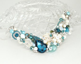 Teal Statement necklace-Teal Bib Necklace- Blue Green Necklace- Vintage Bib necklace- Bridal Statement necklace-Teal Bridesmaid necklace-