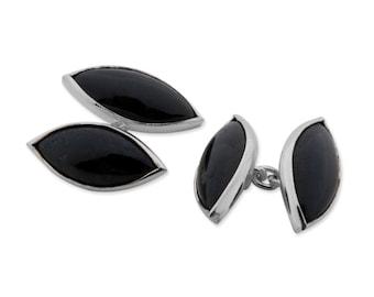 Black Onyx Cufflinks Double Lozenge Shape Regnas Sterling Silver 925