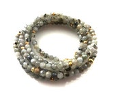 """Gray Faceted Little Rondells Gemstone Beaded Chain Necklace/Wrap Bracelet/36"""""""