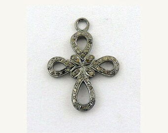 Pave Diamond Celtic Cross Charm Over 925 sterling Silver Pendant - 31mmx23mm