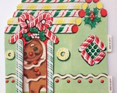 Pop-Up Greeting Card Little Gingerbread Boy in Candy House Christmas