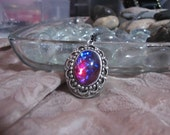 Silver Ornate Dragons breath Mexican Fire Opal Blue red Photo Locket Necklace