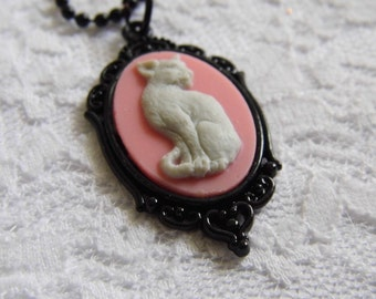 Pink Cat Kitty Halloween Morbid Steampunk Gothic PAGAN Necklace Pendant