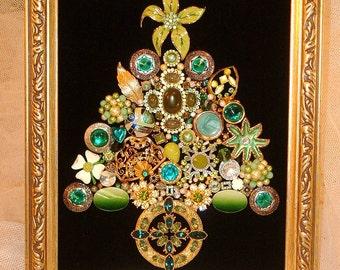Vintage Jewelry Framed Christmas Tree~CHRISTMAS EMERALD~Green & Gold Christmas Tree ~ Black Velvet~Christmas Keepsake ~ Free Shipping