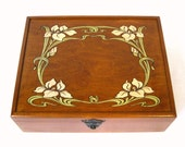 """Art Nouveau Lilies Wooden Keepsake Box:  12"""" x 9.5""""  Art Deco Floral Heirloom, for Jewelry, Tea, and More."""