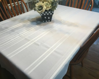 Tablecloth, Vintage White linen Kitchen Dining Tablecloth for housewares and home decor, very shabby chic by MarlenesAttic