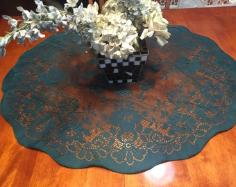 Vintage Green lace Tablecloth or Table Runner for christmas, holiday, housewares, home decor, valentines by MarlenesAttic