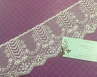 1 yard of 4 inch White chantilly raschel lace trim for sewing, crafts, costume, housewares, couture by Marlenes - Item 2AA
