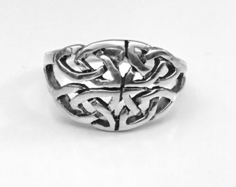 Celtic Four Trinity Knot Ring, Celtic Knot Ring, Sterling Silver Celtic Ring, Celtic Jewelry, Celtic Design, Celtic Knot Ring