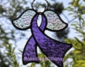 Stained Glass Purple Awareness RIBBON ANGEL Suncatcher,  Amethyst / Grape Purple , Rainbow Iridescent Wings , USA Handmade, Guardian Angel