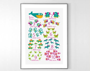 SPANISH Numbers Poster with animals from 1 to 10 - BIG POSTER 13x19 inches