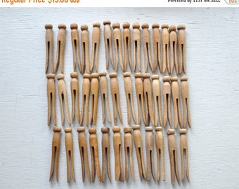 ON SALE 40 Vintage Wooden Clothespins  Mid Century Clothes Pins