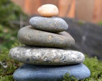 Natural Beach Stone Stack 5 Unique Ocean Rocks Zen Stones Zen Garden Sculpture Fountain Yoga Meditation Gift Beach Home Decor Balance Peace