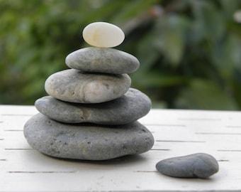 Natural Beach Stone Stack 6 Ocean Rocks Zen Stones Balance Zen Garden Sculpture Rock Art Fountain Yoga Meditation Gift Home Decor Peace Sea