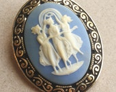 80s vintage wedgewood something blue and cream wedding brooch with three Victorian muses dancing design made in Germany