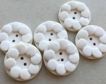 large white vintage eco friendly buttons with overlapping dot design--matching lot of 6