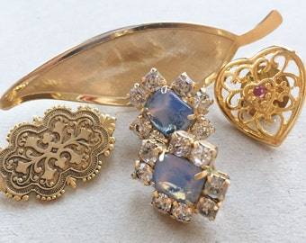 destash craft lot of vintage brooches and tack pins//feather openwork heart rhinestones--lot of 5 items