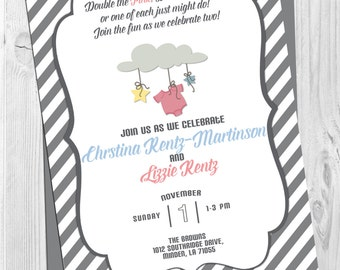 Double Baby Shower Invitation - Front and Back