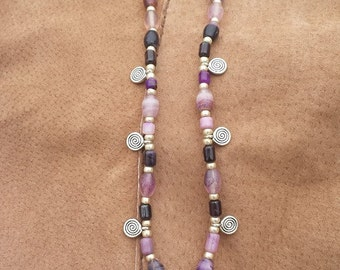 Goddess Necklace with Sugilite and Fluorite beads