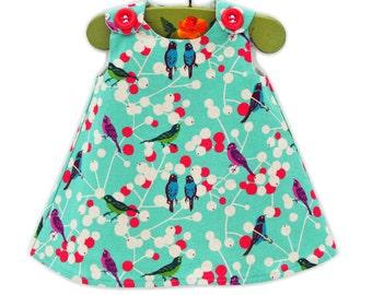 Dress -  Echino Print - Japanese Fabric - Birds Dress - Fashion for Girls - Children Clothing - Nature  - Photography - KK Children Designs