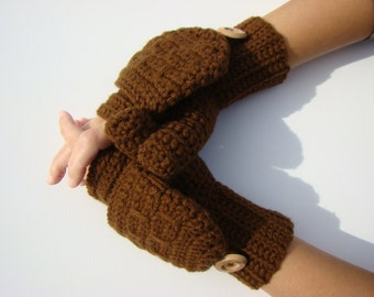 Convertible Fingerless Mittens, Walnut Texting Mittens, Crochet Womens Flip Top Mittens, Winter Fashion, Cycling Mittens, Stylish Gloves