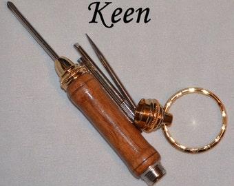 cn - Keen Handcrafted Handmade Walnut Screwdriver 24kt Gold Keychain