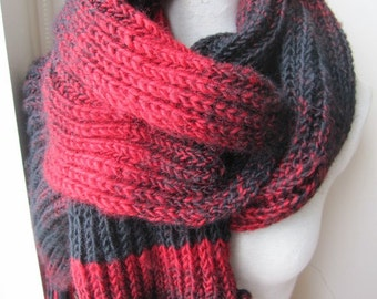 Fisherman's Knitted scarf women's-men's long knit scarf-black red -Rib knit scarf,  neckwarmer,woman-man fashion - Winter scarf scarves2012