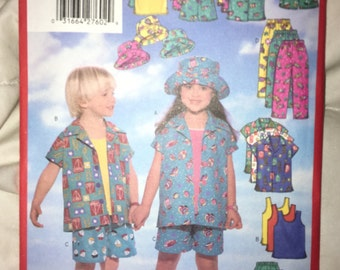 Clearace Sale - Uncut Butterick 5564 PATTERN - Child Girls n Boys Semi Fitted Shirt, Top, Shorts, Pants, Hat - Sizes 6,7,8 YMA47R