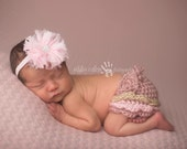 Pink Headband, Baby Headband, Infant Headband - Pink frated chiffon flower with rhinestone center on baby pink glitter elastic