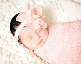 Peach Headband, Baby Headband, Floral Headband- Peach Lotus Chiffon Flower Headband on Soft White Elastic Headband Hair Accessories
