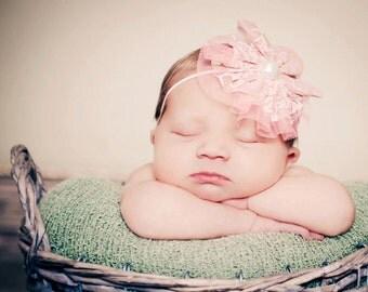 Pink headband, Baby Headband, Lace Headband- Pink Lace and Pearl Baby Headband Hair Accessories Photography Prop
