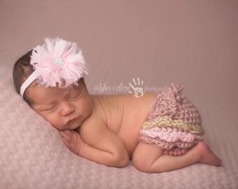 Pink Headband, Baby Headband, Infant Headband - Pink frated chiffon flower with rhinestone center on baby pink glitter elastic