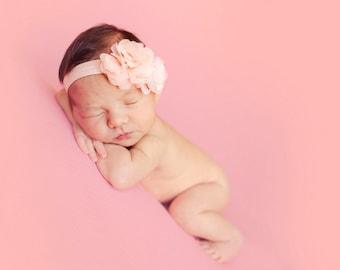 Pink headband, Floral headband, Baby headband- Pink and peach Chiffon Headband Toddler and Baby Headband