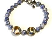 RESERVED for SUE Single BoHo Beaded Bracelet ~ Stretch Bracelet ~ Blue Agate Gemstones ~Original Lampwork Beads~ The Joy Moos Collection