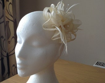 Ivory Cream Sinamay and Coq Feather Fascinator or Corsage with pearl sprays Races, Weddings, Prom, Cruise