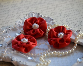 """Set of 3 Red Satin Flowers 1.5"""", small fabric flowers, Satin Flower, satin ribbon flower, headband, hair accessories, flower accessories"""