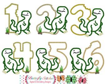 Jurassic Dinosaur Number Set 1-6 Digital Machine Embroidery Appliqué Designs