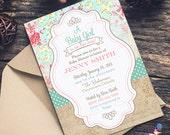 Shabby Chic Baby Shower Invitations, floral, digital, gender neutral printable shabby chic baby shower invitations for girl, Baby Sprinkle