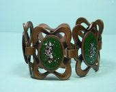Ornate Spectacular Rebajes Enamel On Copper Bracelet,  50s Vintage, Signed