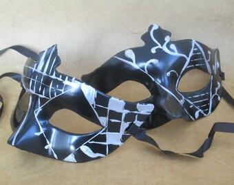 Masquerade Mask Set Couples Masked Ball Black & Silver Venetian Domino