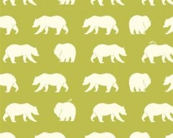 SALE!!Bear Fabric-Birch Organic Cotton Fabric-Bear Camp Poplin-Bear Hike Grass-Green Bears-Lime BearsBC-01-Grass