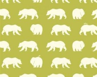 Bear Fabric - Birch Organic Cotton Fabric - Bear Camp Poplin - Bear Hike Grass - Green Bears - Lime Bears - Animal Fabric