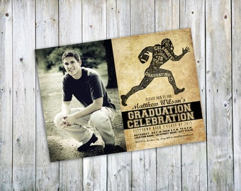 Football Graduation Announcement or Party Invitation - With or without photo