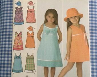Girls Dress Pattern / Girls Dress and Hat / Easter Dress Pattern / Simplicity 3859 / UNCUT