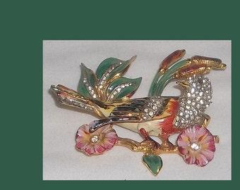 Adolf Katz COROCRAFT Bird Brooch, Gold plated Sterling, Enamel, Pave RS